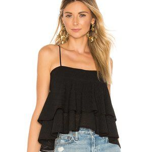 A.L.C Presley Tiered Eyelet Black Tank